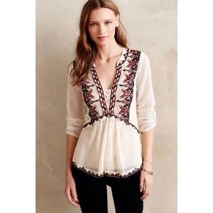 Anthropologie Akemi + Kin Embroidered Blouse